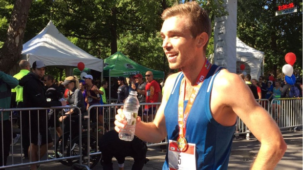 Icelandic runner Kari Steinn Karlsson has won first place in the 2016 Montreal Marathon. (Photo: CTV Montreal/Rob Lurie)