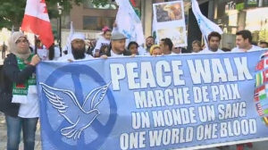 Members of Montreal's Muslim community held a peace walk on Sunday to promote harmony within the community.