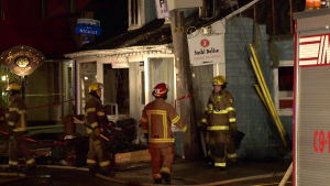 The fire broke out at Sushi Delice on Ste-Rose Blvd. (photo: Cosmo Santamaria / CTV Montreal)