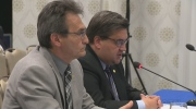 Richard Bergeron and Denis Coderre address public hearings on a proposed light rail line in Montreal