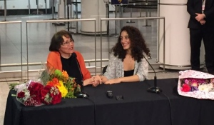Homa Hoodfar meets the press with her niece, Amanda Ghahremani, after returning to Montreal (CTV Montreal/Cindy Sherwin)