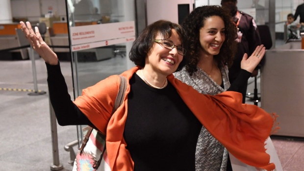 Iranian-Canadian professor Homa Hoodfar smiles as she arrives in Montreal on Thursday, Sept. 29, 2016. The retired anthropology professor spent nearly four months in prison in Iran. THE CANADIAN PRESS/Ryan Remiorz