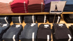 Clothing is seen at the first Uniqlo retail clothing store in Toronto, on Sept. 26, 2016. (Mark Blinch / THE CANADIAN PRESS)