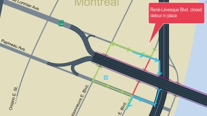 Drivers will have to detour between Papineau and De Lorimier starting the night of Oct. 3, 2016