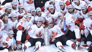 Team Canada poses with the trophy following their victory over Team Europe during World Cup of Hockey finals action in Toronto on Thursday, Sept. 29, 2016. (Nathan Denette / THE CANADIAN PRESS)