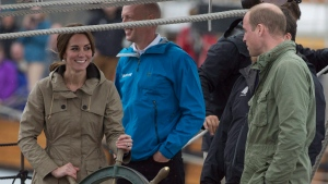 The Duke and Duchess of Cambridge are seen as they sail on a tallship in Victoria, B.C. Saturday, Oct. 1, 2016. (THE CANADIAN PRESS / Jonathan Hayward)