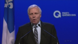 Jean-Francois Lisée, newly-elected leader of the Parti Quebecois, spent a large part of his victory speech trying to unite opponents (Oct. 7,2016)