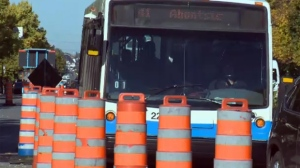 The 41 bus drives through a construction zone in Montreal (Oct. 11, 2016)
