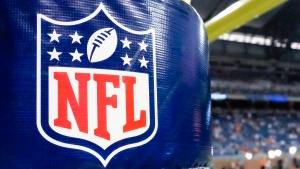 NFL logo on a goal post padding. (Rick Osentoski / AP)
