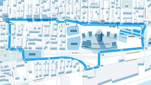 This is the course that will be used by Formula E drivers in races from July 28 to 30, 2016.