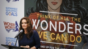 "Lynda Carter, who played Wonder Woman on television, speaks during a UN meeting to designate Wonder Woman as an ""Honorary Ambassador for the Empowerment of Women and Girls,"" Friday, Oct. 21, 2016 at UN headquarters. (Bebeto Matthews/AP)"