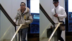 Police are seeking these two men, who they believe stole two handbags from Holt Renfrew.