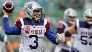 Montreal Alouettes quarterback Vernon Adams Jr. (3) looks for a receiver during second half CFL action against the Saskatchewan Roughriders, in Regina on Saturday, October 22, 2016. THE CANADIAN PRESS/Mark Taylor