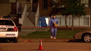 People are trying to determine why two people were injured Sunday night in LAval. (CTV Montreal / Cosmo Santamaria)