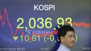 A currency trader walks by a screen showing the Korea Composite Stock Price Index (KOSPI) at the foreign exchange dealing room in Seoul, South Korea on Tuesday, Oct. 25, 2016. (AP / Lee Jin-man)