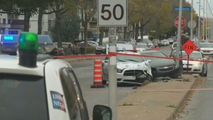 Montreal police shot the passenger of a car that later crashed into a police cruiser (Oct. 26, 2016)