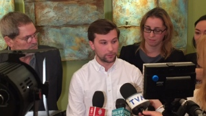 Gabriel Nadeau-Dubois speaks with reporters after being cleared of contempt charges.