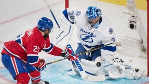 Alex Galchenyuk couldn't score against Ben Bishop during the second period, but he succeeded in the third. Thursday, October 27, 2016. THE CANADIAN PRESS/Graham Hughes