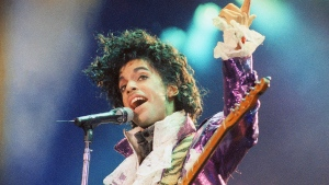 Prince performs at the Forum in Inglewood, Calif. on Feb. 18, 1985. (Liu Heung Shing/AP)