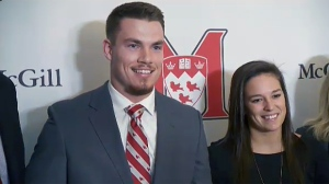 McGill students Joel Houle and Melodie Daoust are the first recipients of the Jean Beliveau award for student athletes