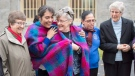 Congregation of Notre Dame Sisters Sheila Sullivan, left to right, Martha Lucia Perez Gutierrez, of Guatemala, Lorraine Costello, Ercilia Janeth Ferrera Erazo, of Honduras, and Marilyn von Zuben are seen outside the Mother House, in Montreal on Wednesday, November 16, 2016. THE CANADIAN PRESS/Ryan Remiorz