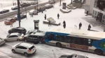 Slow-motion pileup on snowy Montreal streets