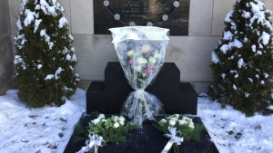 White roses were place at a memorial plaque at Ecole Polytechnique to honour the 14 women killed 27 years ago on Tuesday Dec. 6, 2016 (CTV Montreal/JL Boulch)