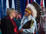 Assembly of First Nations Chief Perry Bellegarde speaks with Indigenous Affairs Minister Carolyn Bennett before the start of the AFN Special Chiefs assembly in Gatineau, Que. on Tuesday Dec. 6, 2016. (Adrian Wyld / THE CANADIAN PRESS)