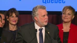 Premier Philippe Couillard speaks at Isabelle Melancon's victory party on Dec. 5, 2016