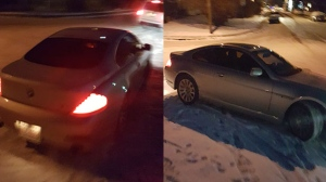 Surveillance stills of suspect vehicle, a BMW coupe, in connection with Wednesday's road rage incident that saw a woman attacked by men armed with hockey sticks (CPS)