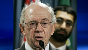 Warren Allmand making comments in regards to the Maher Arar case In Ottawa, Thursday, Sept. 1, 2005.(CP PHOTO/Fred Chartand)