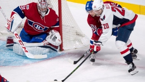 Montreal Canadiens defenceman Ryan Johnston (89) blocks Washington Capitals centre Lars Eller (20) from taking a shot on goaltender Carey Price (31) during first period NHL hockey action Monday, January 9, 2017 in Montreal. THE CANADIAN PRESS/Paul Chiasson