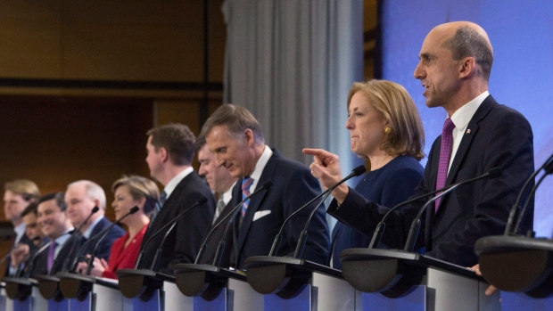 Conservative Party leadership candidates debate in Quebec City, on Tuesday, January 17, 2017.THE CANADIAN PRESS/Jacques Boissinot