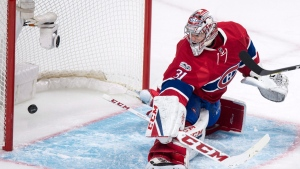 Carey Price once again looks at what he missed: a goal by Pittsburgh Penguin Eric Fehr on January 18, 2017 in Montreal. THE CANADIAN PRESS/Paul Chiasson