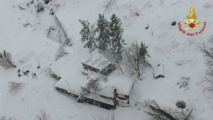 An aerial view of the Rigopiano Hotel hit by an avalanche in Farindola, Italy, early Thursday, Jan. 19, 2017. (Italian Firefighters)