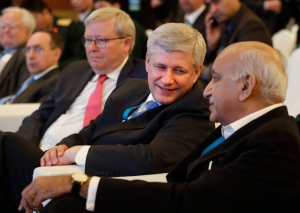 Former Canadian prime minister Stephen Harper, second right, speaks with Indian Junior Foreign Minister M.J. Akbar, right, as former Australian prime minister Kevin Rudd, third right, watches the inauguration of the second edition of the Raisina Dialogue in New Delhi, India, Tuesday, Jan. 17, 2017. Raisina Dialogue is India's flagship geo-political conference organized annually by the Observer Research Foundation (ORF) in association with the Ministry of External Affairs. (AP / Manish Swarup)
