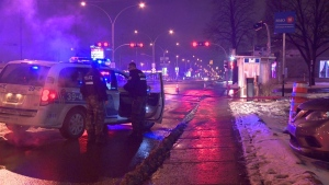 Montreal police investigate after a man was stabbed during an attempted armed robbery. (CTV Montreal/ Cosmo Santamaria)