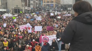 Thousands of women and men demonstrated in Montreal in support of the Women's March on Washington on Saturday.