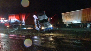A pile-up on Highway 20 forced the closure west of the Island of Montreal (photo: CTV Montreal/Cosmo Santamaria)