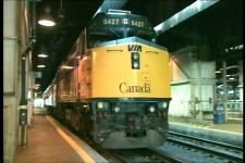 A VIA Rail train is seen at Union Station in Toronto on Wednesday, July 22, 2009.