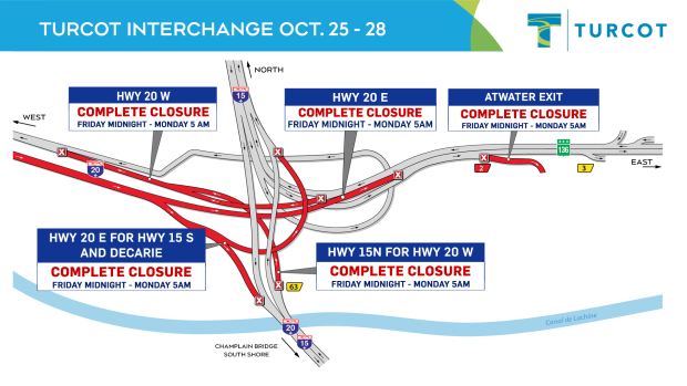 Turcot closures, Oct. 25-28.