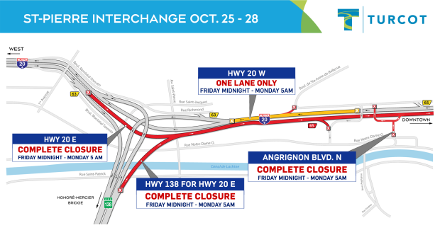 St-Pierre interchange closure Oct. 25-28.