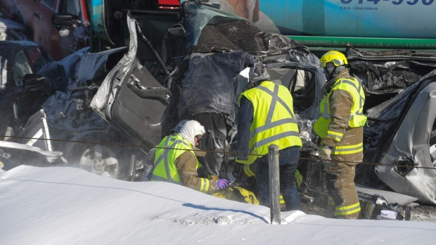 Two dead, others seriously injured in massive pileup south of Montreal