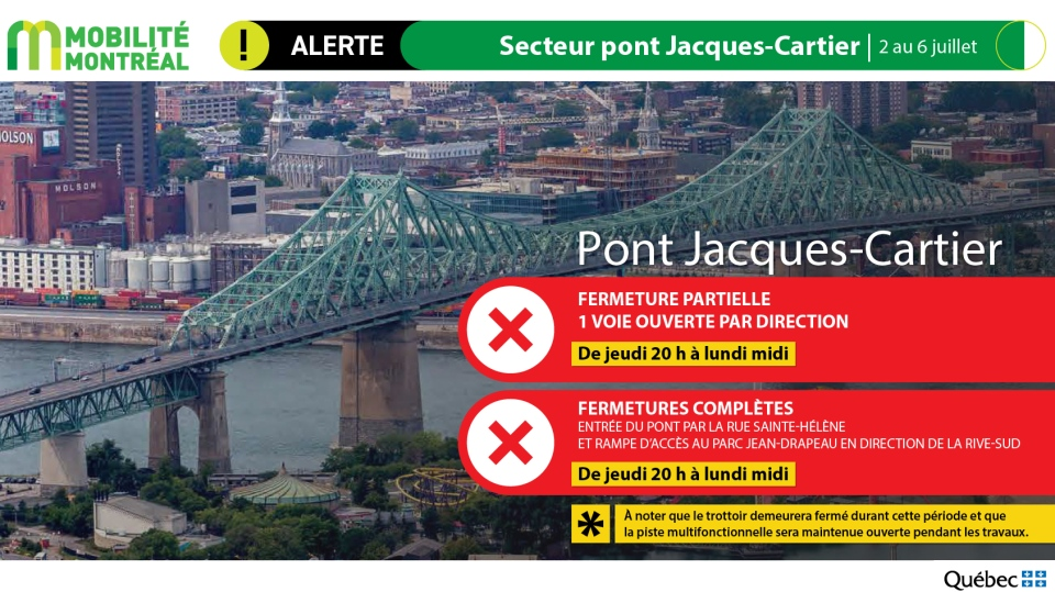 Jacques-Cartier Bridge closures July 3-6, 2020