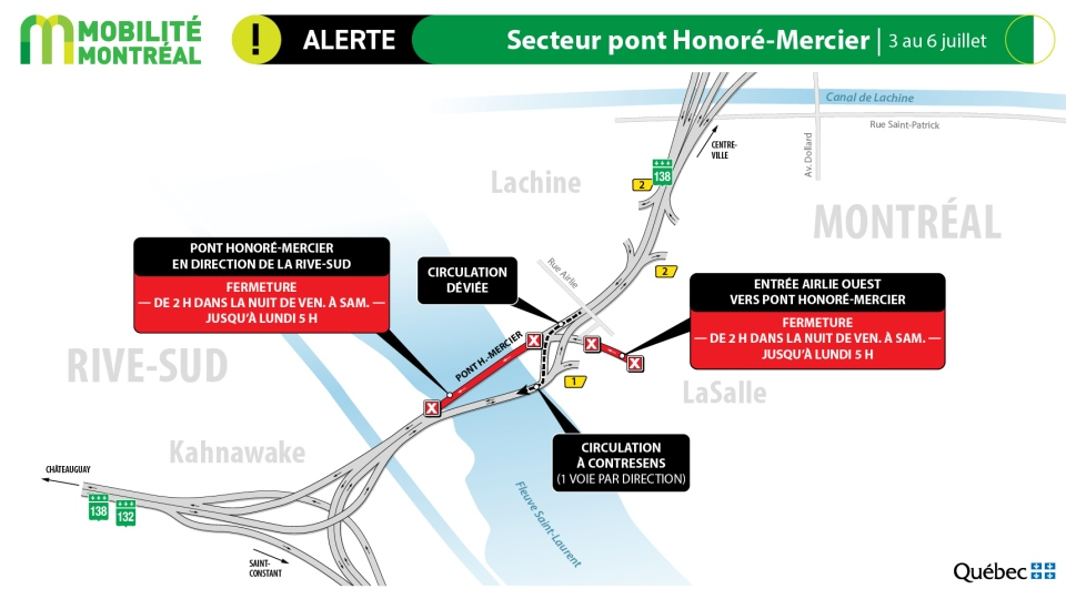 Honore-Mercier Bridge closures July 3-6, 2020