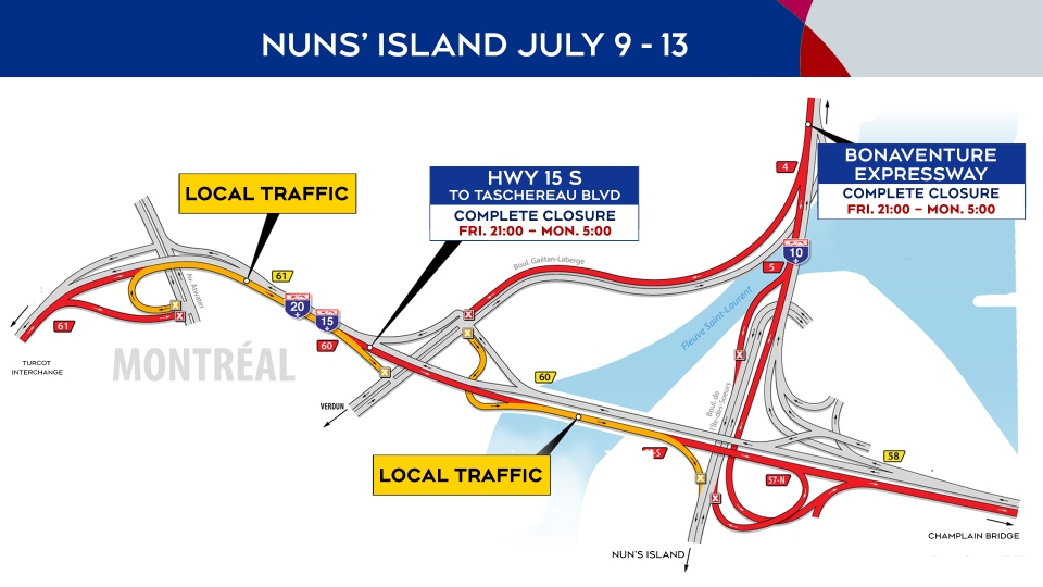 Nuns' Island closures July 9 to 13, 2020