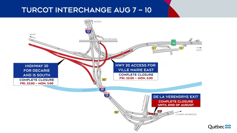 Turcot Interchange closures Aug. 7-10, 2020