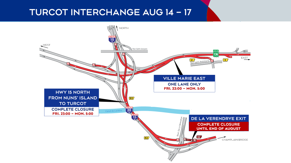 Turcot Interchange closures Aug. 14-17