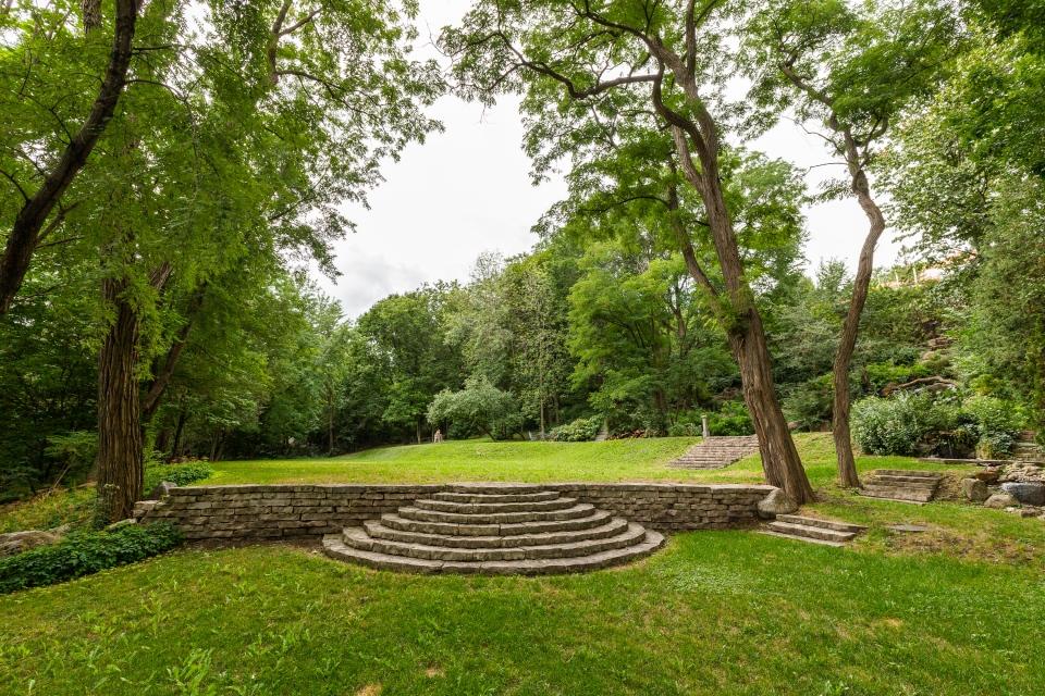 Lush greenery surrounding estate