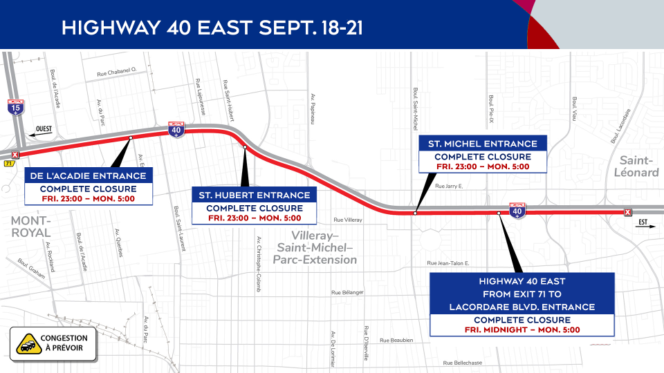 Highway 40 closures Sept. 18-21
